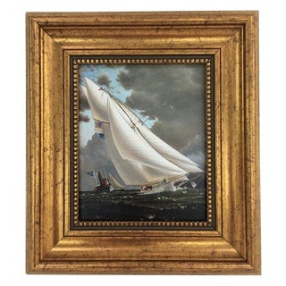Framed Petite Sailing Ship Painting For Sale