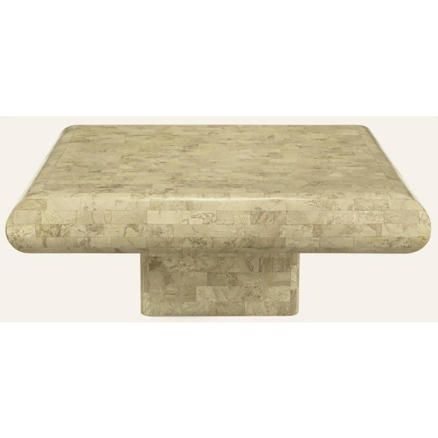 Tesated Fossil Stone Coffee Table With Radiused Edges And Recessed Pedestal Base Made In The