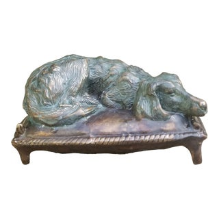 Anglo-Indian Victorian Cast Bronze Dog on Bed For Sale
