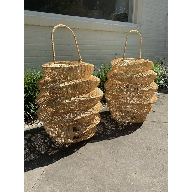 Contemporary Palacek Style Rattan Hurricane Lanterns - A Pair For Sale - Image 3 of 6