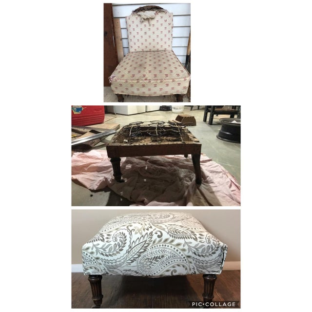 This ottoman was made from a broken antique Slipper Chair. I cut off the back and completely reupholstered it. It has...
