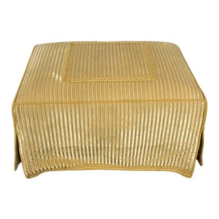Traditional Upholstered Gold Ottoman For Sale