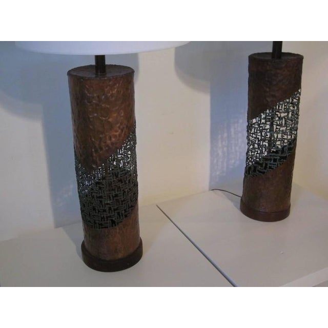 1950s Fantoni Brutalist Torch Cut Lamps for Raymor - a pair For Sale - Image 5 of 7