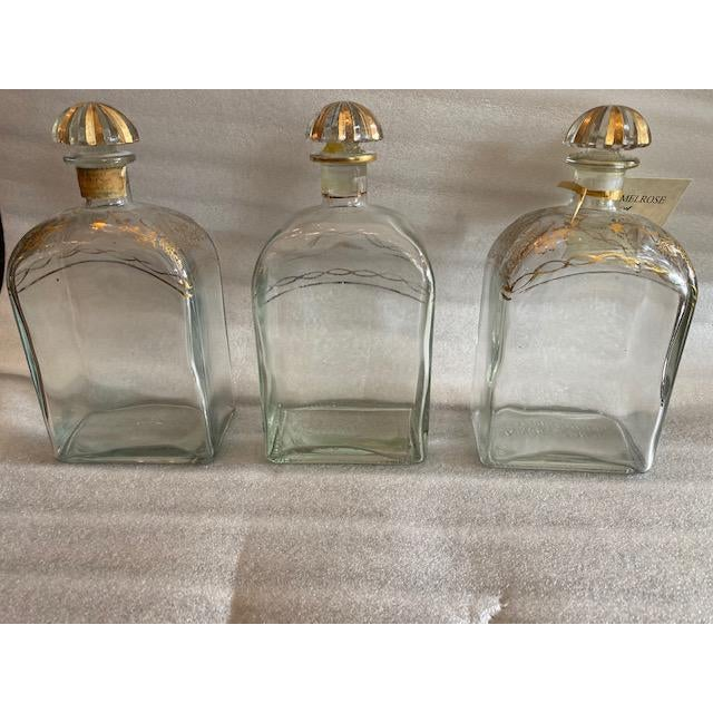 Late 19th C. Spanish Liquor Decanters With Gold Detailing - Set of 3 For Sale - Image 13 of 13