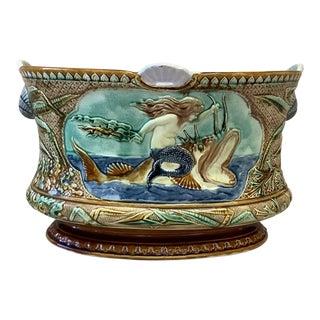 Majolica Mermaid Jardinière, Circa 1880 For Sale