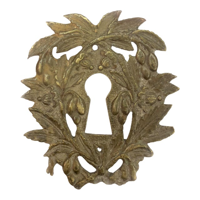 Antique French Victorian Brass Escutcheon Keyhole Cover For Sale