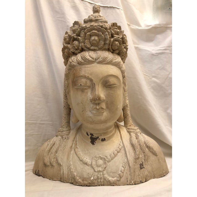 Mid-Century Deity Wood Bust Sculpture For Sale - Image 13 of 13