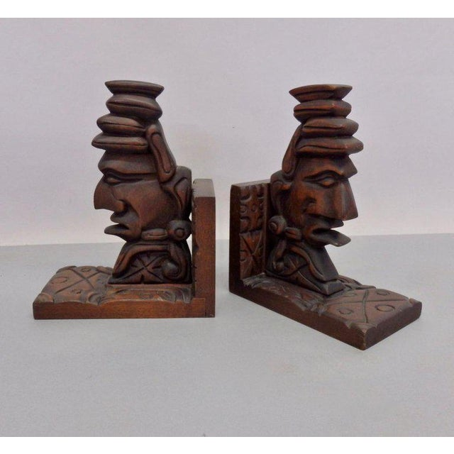 Mid 20th Century Carved Tiki Bookends - a Pair For Sale - Image 5 of 7
