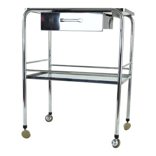 Mid 20th Century French Steel Cart with Shelves and Rollers For Sale