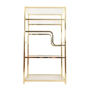 Vintage Milo Baughman Style Brass and Glass Etagere For Sale