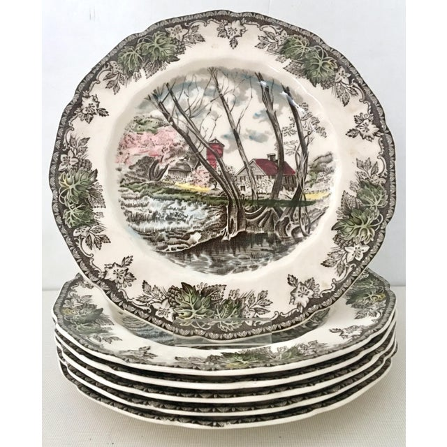 """20th Century English Transferware, """"The Friendly Village"""" set of 17 pieces by, Johnson brothers-made in England. Set..."""