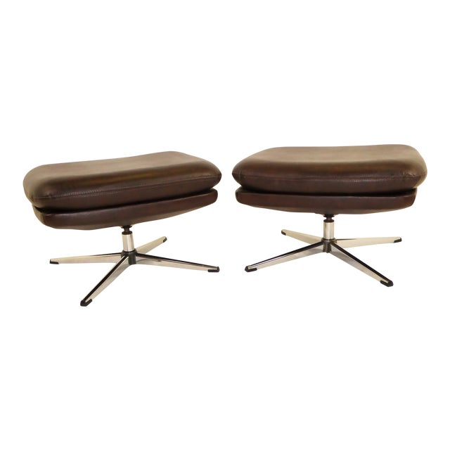 1970s Overman Swivel Foot Stools Benches in Dark Brown Leatherette- A Pair For Sale