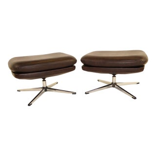 Pair 1970s Overman Swivel Foot Stools Benches in Dark Brown Leatherette