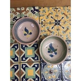 Vintage Mexican Ceramic Pozole Bowls Blue Striped Flower Design Set - a Pair Preview