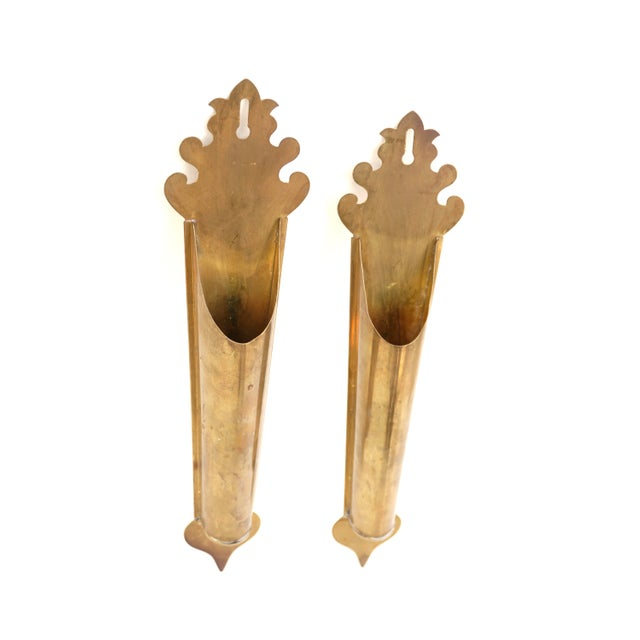 Vintage Brass Wall Planters | Pair of Wall Mount Vases | Moroccan Stemmed Flower Sconces|| Boho Chic/Hollywood Regency Wall Decor For Sale - Image 10 of 13