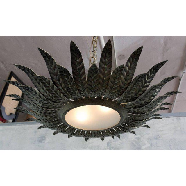 1950s Spanish Flush Mount Sunburst Ceiling Fixture For Image 5 Of 10