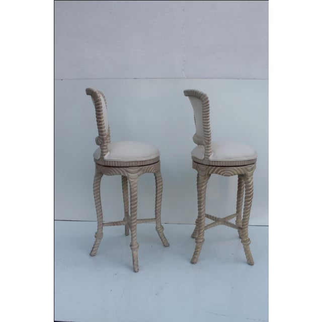 Italian Carved Rope & Tassel Bar Stools -- A Pair - Image 3 of 11