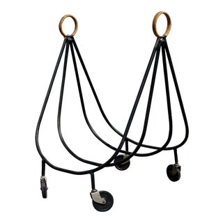 Arthur Umanoff Wrought Iron Log Holder on Wheels For Sale