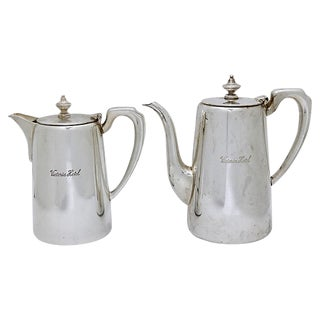 Mid-Century Victoria Hotel Silver-Plate Coffee Set For Sale
