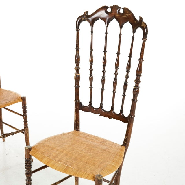Pair of Midcenty Chairs by Colombo Sanguineti for Chiavari 1950s For Sale - Image 4 of 7