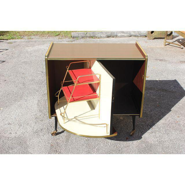 1940s Vintage Macassar French Art Deco Swivel Bar Cabinet For Sale - Image 4 of 13