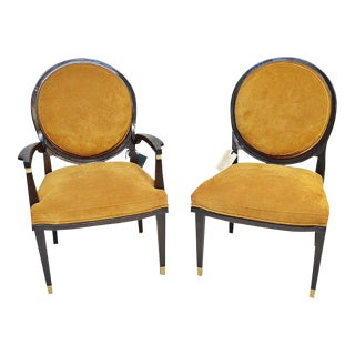 William Switzer Lucien Rollin Side Chair & Arm Chair - A Pair