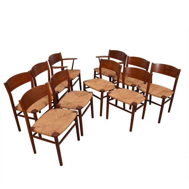 Borge Mogensen Set of 10 (2 Arm + 8 Side) Danish Teak Dining Chairs For Sale - Image 9 of 9