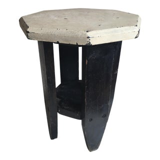 1930s Vintage Rustic Black and White Stool For Sale