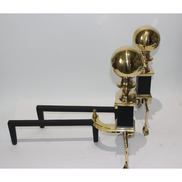 19c Fireplace Accesories Regency Style Andirons - a Pair For Sale - Image 4 of 11