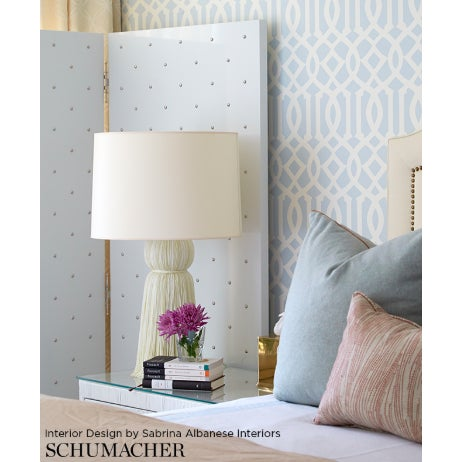 Contemporary Schumacher Imperial Trellis Wallpaper in Soft Aqua Blue - 2-Roll Set (9 Yards) For Sale - Image 3 of 4