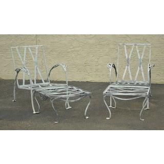 Salterini Vintage Wrought Iron Pair Patio Garden Lounge Chairs W/ Ottomans Preview