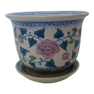 Vintage Chinoiserie Asian Floral Ceramic Planter
