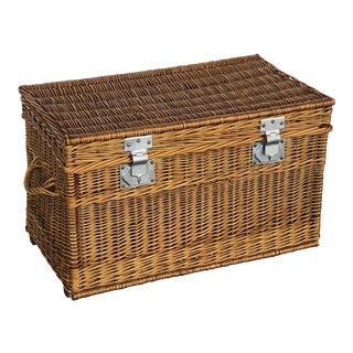 Large French Willow Basket Hamper For Sale