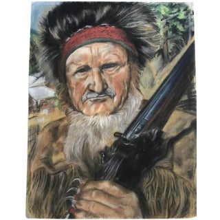 "Vintage Western ""Mountain Man"" Pastel Portrait For Sale"