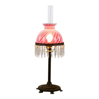1920's Victorian Hurricane Style Glass and Crystal Table Lamp For Sale
