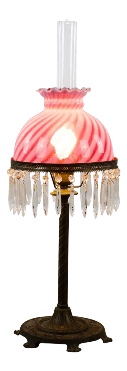 1920u0027s Victorian Hurricane Style Glass And Crystal Table Lamp