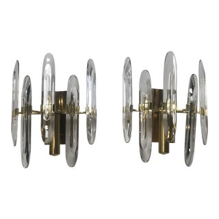 Sconces Brass and Glass by Sciolari - a Pair For Sale