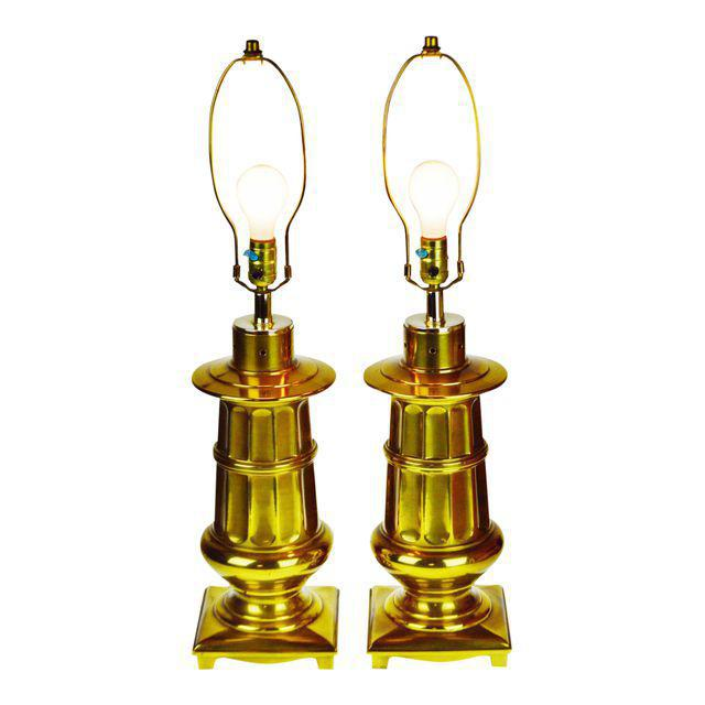 Vintage Neoclassical Brass Table Lamps - a Pair For Sale - Image 12 of 13