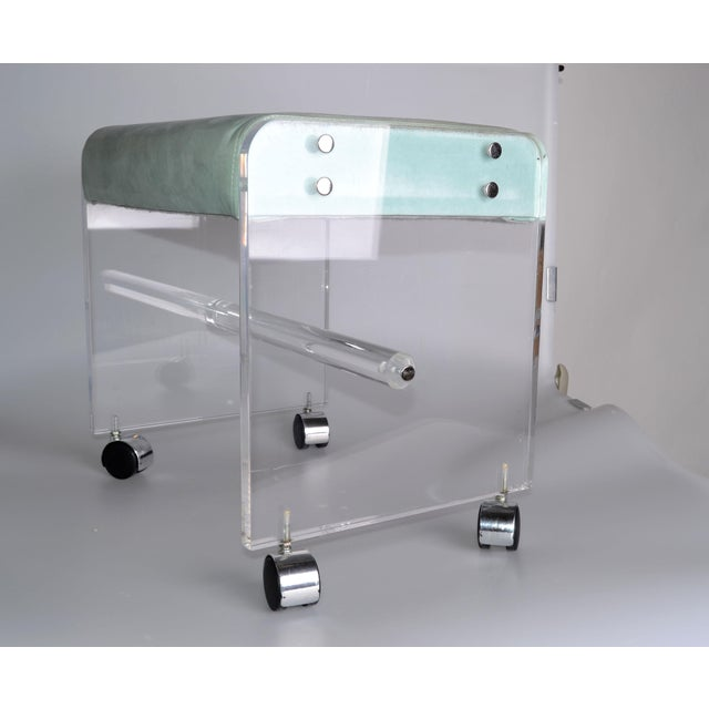 Mid-Century Modern Lucite Stool On Casters For Sale - Image 10 of 10