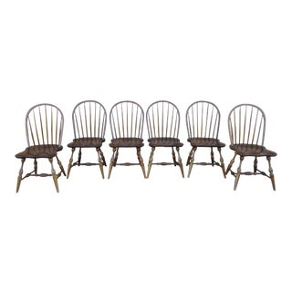 Frederick Duckloe & Bros. Colonial Reproductions Windsor Bow Back Side Chairs - Set of 6 For Sale