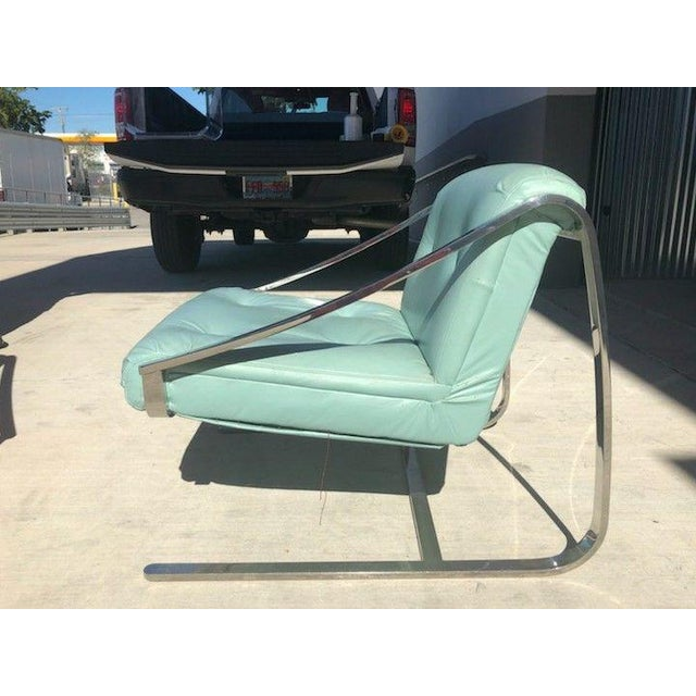 1970's Vintage Grasshopper Chrome Steal Lounge Chairs- A Pair For Sale - Image 9 of 11