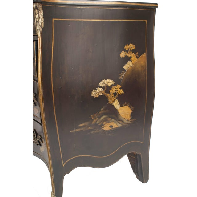 French French Louis XV Style Black Lacquered Chinoiserie Decorated Commode For Sale - Image 3 of 4