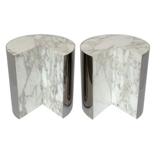 Pair of Pace Collection Marble and Steel Pie Shaped Side Tables For Sale