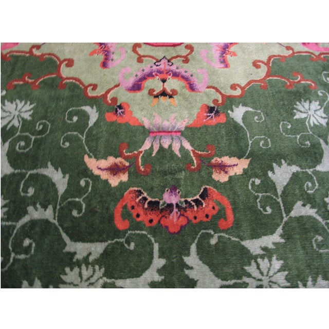 Green Antique Chinese Art Deco Rug For Sale - Image 8 of 9