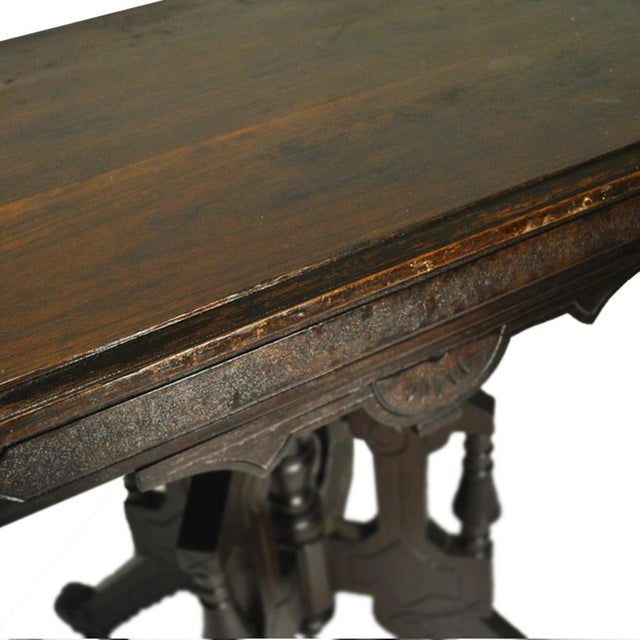 Exceptional Antique Eastlake Victorian Heavily Carved Walnut Parlor Side Table - Image 5 of 9