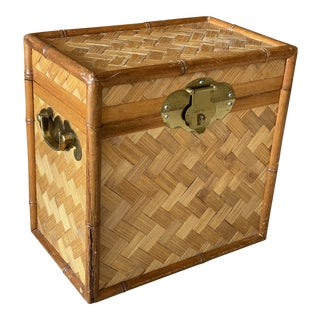 Vintage Dixie Basket Weave Bamboo Trunk For Sale