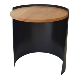 Contemporary Minimalist Blackened Steel and Wood End/Side Table by Scott Gordon For Sale
