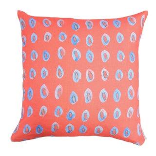 "Blue Kiwis on Bright Coral Linen Pillow - 18"" x 18"""