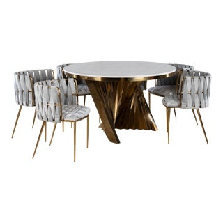 Waterfall Dining Set With Marble Top Table & Gray & Gold Chairs - Set of 7 For Sale