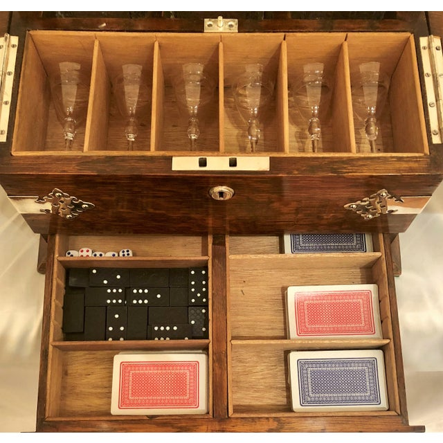 Late 19th Century Antique English Golden Oak Games Box Tantalus, Circa 1880. For Sale - Image 5 of 6